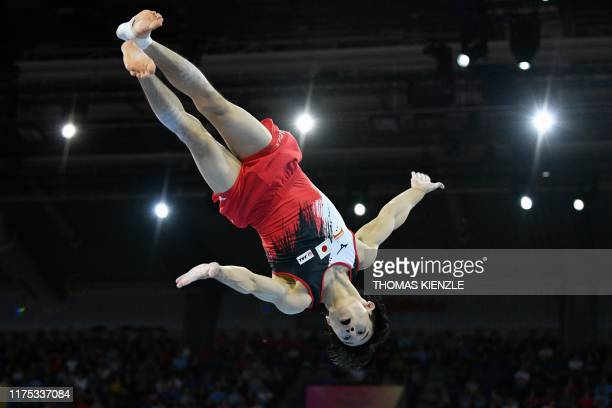 Japan's Kazuma Kaya performs on the floor during the mens allaround final at the FIG Artistic Gymnastics World Championships at the...