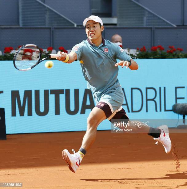 Japan's Kei Nishikori is pictured during his Madrid Open first-round match against Karen Khachanov of Russia on May 4 in Madrid, Spain.