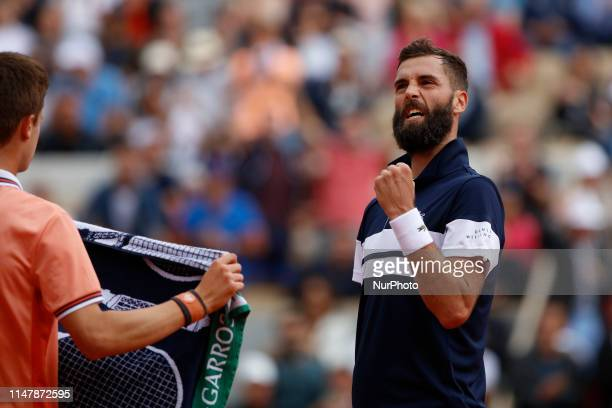 Japan's Kei Nishikori plays against to France's Benoit Paire during their men's singles fourth round match on day nine of The Roland Garros 2019...