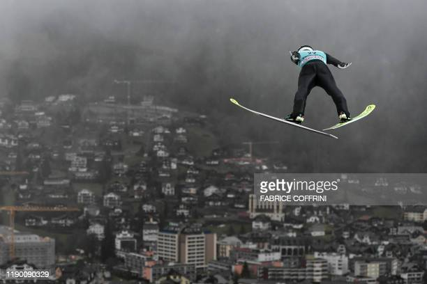 Japans' Keiichi Sato competes during the men's FIS Ski Jumping World Cup competition in Engelberg, central Switzerland, on December 22, 2019.
