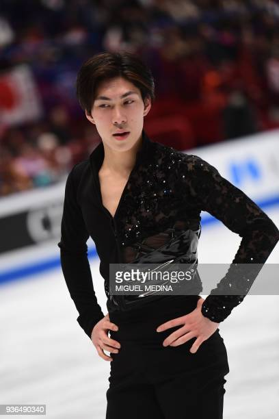 Japan's Keiji Tanaka is pictured after performing his men's short program routine at the World Figure Skating Championships on March 22 2018 in Milan...