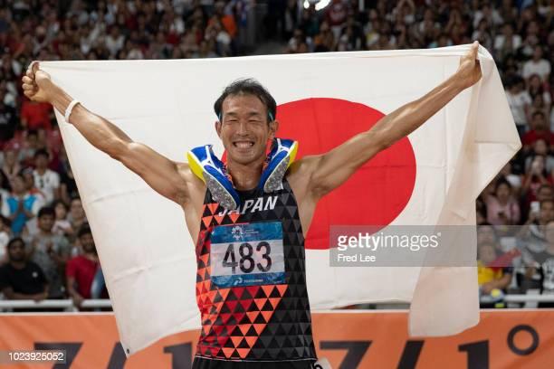 Japan's Keisuke Ushiro celebrates winning the men's decathlon athletics event during the 2018 Asian Games in Jakarta on August 26, 2018.