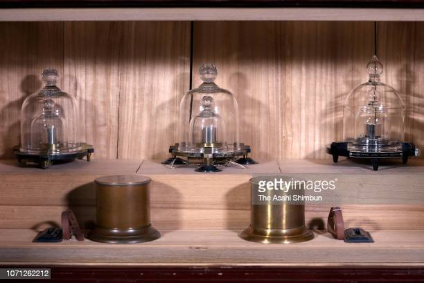 Japan's Kilogram Prototype is displayed at the National Institute of Advanced Industrial Science and Technology on November 02 2018 in Tsukuba...