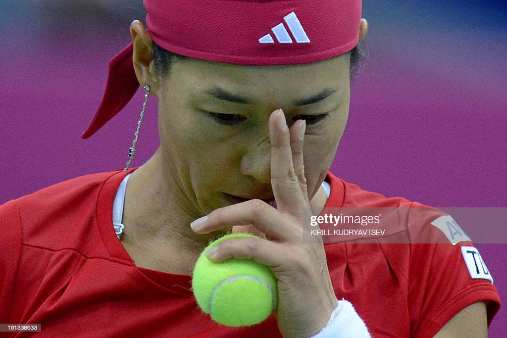 Japan's Kimiko Date-Krumm reacts after losing a point against Russia's Ekaterina Makarova during the International Tennis Federation Fed Cup quarterfinal match between Russia and Japan in Moscow on February 10, 2013.