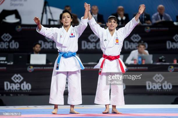Japan's Kiyou Shimizu and Spain's Sandra Sanchez Jaime competes in the Kata individual female final during the 24th Karate World Championships at...