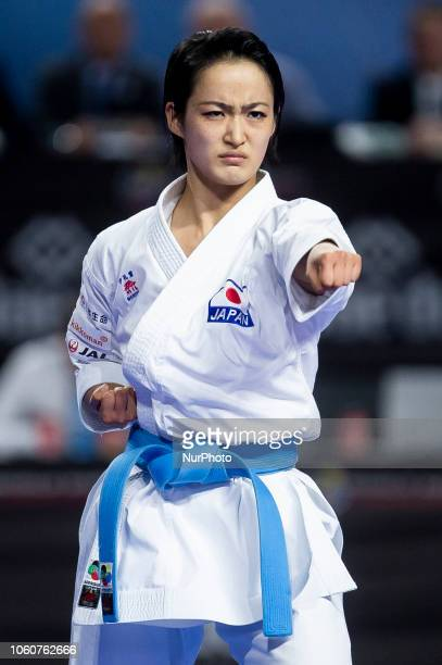 Japan's Kiyou Shimizu competes in the Kata individual female final during the 24th Karate World Championships at Wizink Center in Madrid Spain...