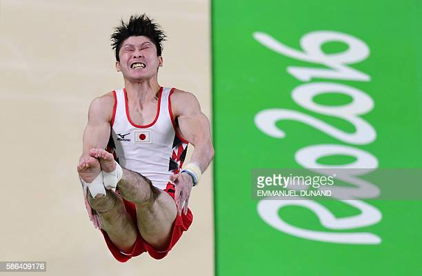Japan's Kohei Uchimura competes in the qualifying for the men's vault event of the Artistic Gymnastics at the Olympic Arena during the Rio 2016...