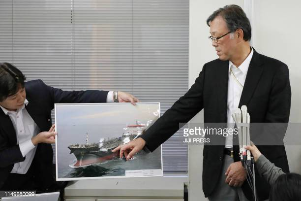Japan's Kokuka Sangyo President Yutaka Katada holds a press conference in Tokyo on June 13 2019 A methanol tanker came under fire in the Gulf of Oman...