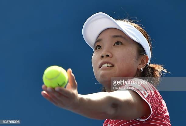 Japan's Kurumi Nara serves during her women's singles match against Russia's Margarita Gasparyan on day three of the 2016 Australian Open tennis...