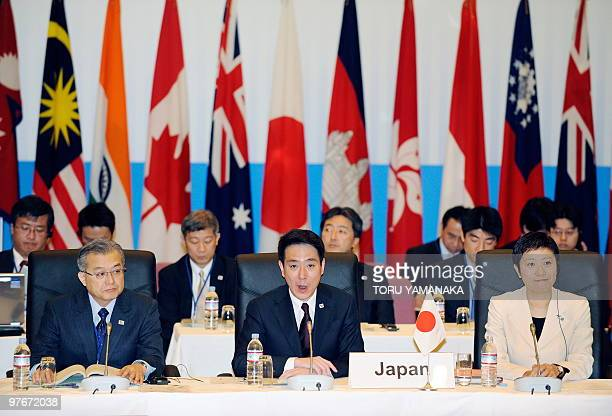 Japan's Land Infrastructure Transport and Tourism Minister Seiji Maehara delivers a speech to open the AsiaPacific Ministerial Conference on Aviation...