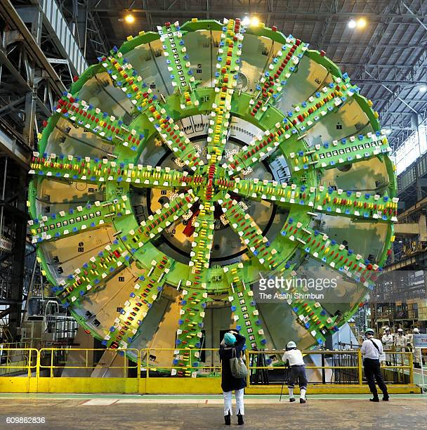 Japan's largest shield tunneling machine which has a 161meter diameter and will excavate the Tokyo Gaikan Expressway tunnel that connects the Kanetsu...