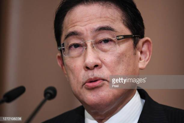 Japan's Liberal Democratic Party's leadership election candidate, former foreign minister Fumio Kishida attends a debate ahead of the Liberal...