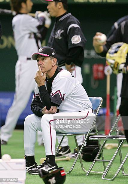 Japan's Lotte Marines manager Bobby Valentine watches a practice session for the Konami Cup Asia Series at the Tokyo Dome 09 November 2005 The series...