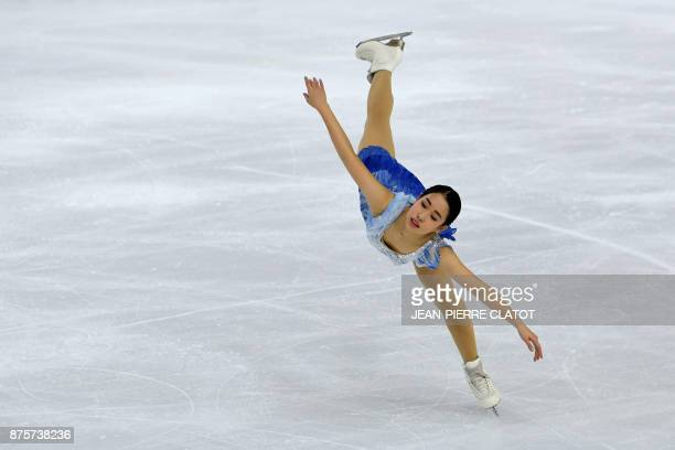 Japan's Mai Mihara performs during the Ladies Free Skating during the Internationaux de France ISU Grand Prix of Figure Skating in Grenoble...