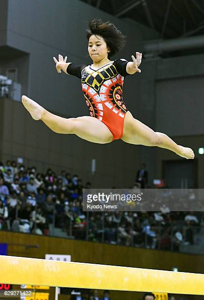 Japan's Mai Murakami wins the women's balance beam at the Toyota International Gymnastics Competition in the central Japan city of Toyota on Dec 11...