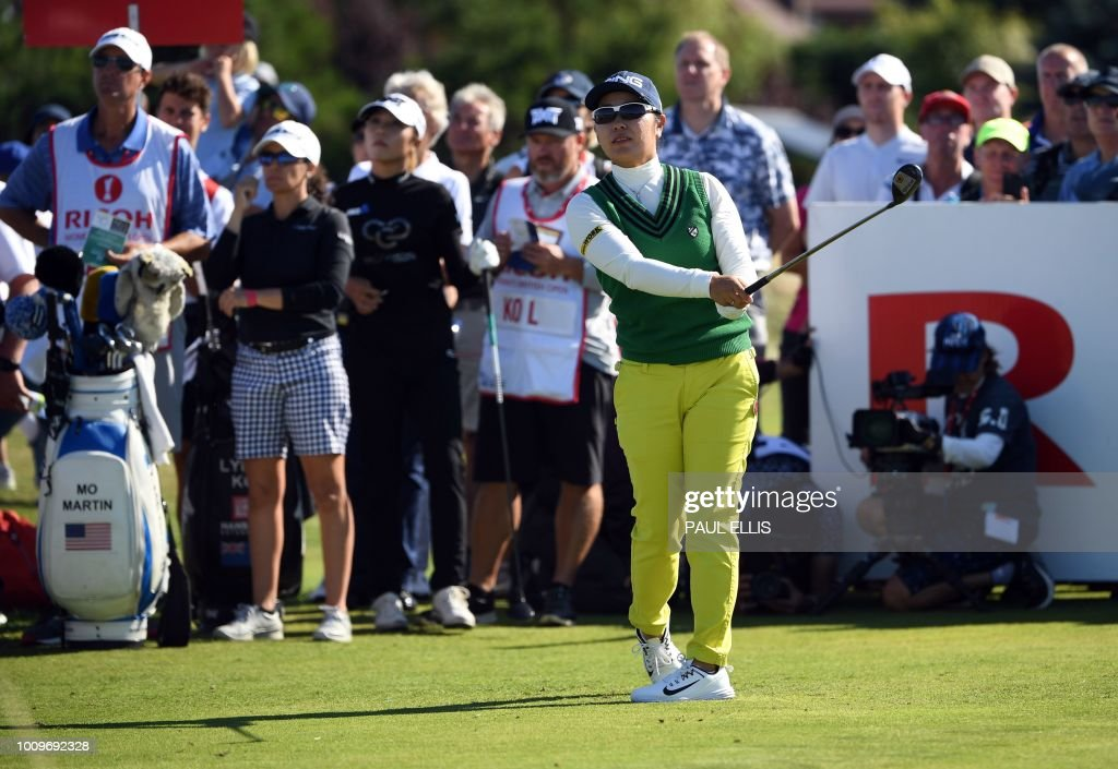 Japan's Mamiko Higa watches her drive from the 16th tee on the first day of the 2018 Women's British Open Golf Championships at Royal Lytham & St. Annes Golf Club, northwest England, on August 2, 2018.