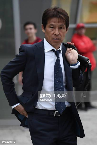 Japan's manager Akira Nishino arrives for the 2018 FIFA World Cup on June 13 2018 in Kazan Russia