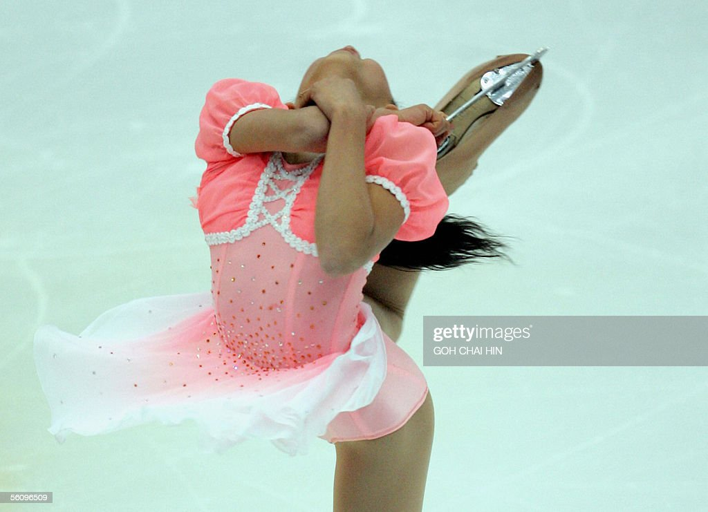 Japan's Mao Asada performs during the ladies free skating event of the China International Skating Union Grand Prix Figure Skating Cup, the third leg of the six-round ISU Grand Prix series, in Beijing 05 November 2005. Asada secured second place in the event behind Russia's Irina Slutskaya.