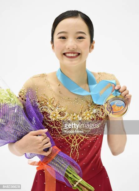 Japan's Marin Honda holds her medal after winning the US International Figure Skating Classic in Salt Lake City Utah on Sept 16 2017 ==Kyodo