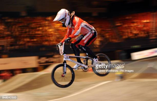 Japan's Masahiro Sampei during free practice during the BMX World Championships at the National Indoor Arena Birmingham