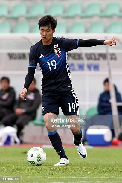 Japan's Midfielder Daichi Kamada during the Friendly match between Japan U23 v Sporting Clube de Portugal B at Estadio Municipal de Rio Maior on...
