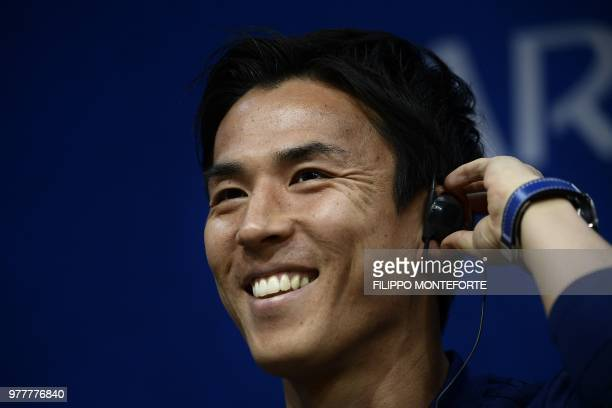 Japan's midfielder Makoto Hasebe attends a press conference on June 18 2018 at the Mordovia Arena in Saransk during the Russia 2018 World Cup...