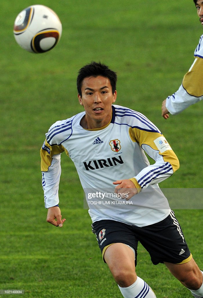 Japan's midfielder Makoto Hasebe chases the ball during their training session in George, on June 16, 2010. The 2010 World Cup hosted by South Africa continues through July 11.