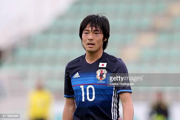 Japan's Midfielder Shoya Nakajima during the Friendly match between Japan U23 v Sporting Clube de Portugal B at Estadio Municipal de Rio Maior on...