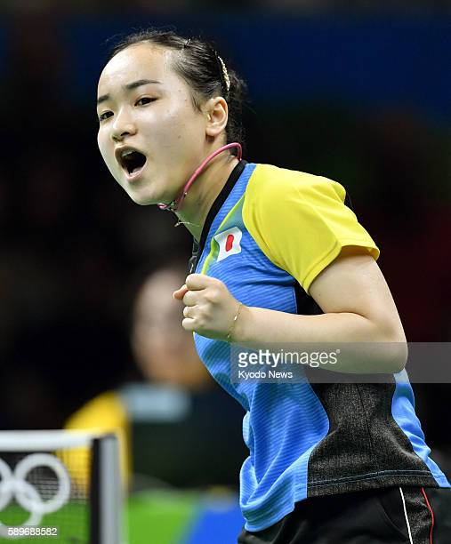 Japan's Mima Ito pumps her fist after winning a point against Petrissa Solja of Germany in a table tennis women's team semifinal match at the Rio de...
