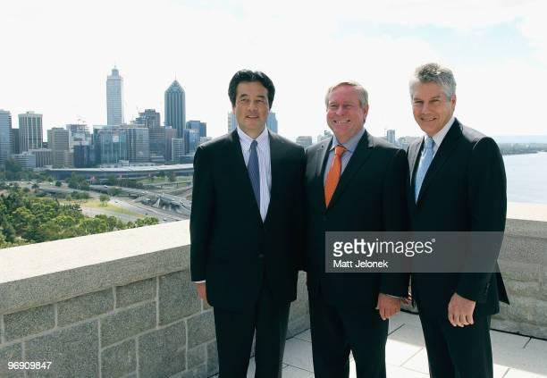 Japan's Minister For Foreign Affairs Katsuya Okada West Australian Premier Colin Barnett and Australia Minister for Foreign Affairs Stephen Smith...