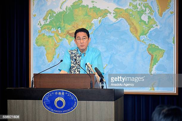Japan's Minister of Foreign Affairs Fumio Kishida addresses to journalists during a press conference on June 7, 2016 in Tokyo, Japan, to give an...