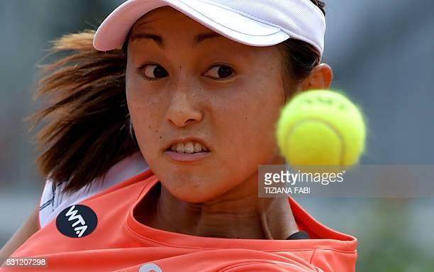 Japan's Misaki Doi eyes the ball during her match against Romania's Irina-Camelia Begu during the WTA Tennis Open tournament at the Foro Italico on...
