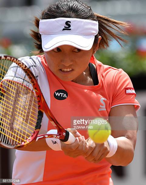 Japan's Misaki Doi returns the ball to Romania's Irina-Camelia Begu during the WTA Tennis Open tournament at the Foro Italico on May 13, 2016 in...