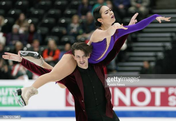 Japan's Misato Komatsubara and Tim Koleto perform in the Rhythm Dance segment at the Four Continents championships in Anaheim California on Feb 8...