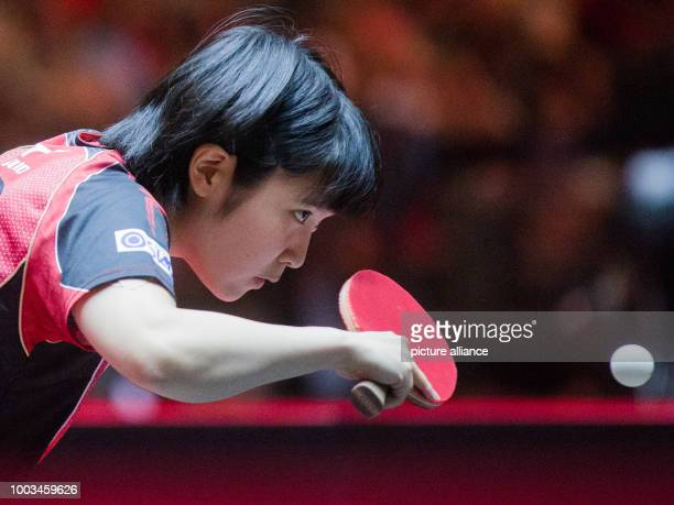 Japan's Miu Hirano plays against Singapore's Xiao in the women's single match at the Table Tennis World Championships 2017 in Duesseldorf, Germany,...