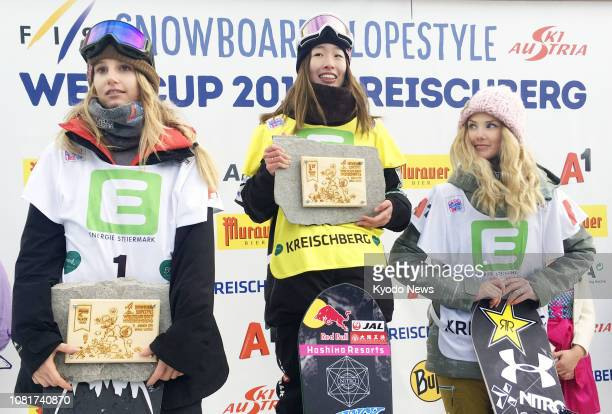Japan's Miyabi Onitsuka poses for photos after winning the women's title at the slopestyle snowboard World Cup event in Kreischberg Austria on Jan 12...