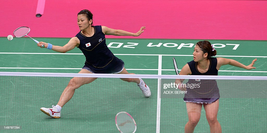 Japan's Mizuki Fuji (R) and Reika Kakiiwa play against China's Tian Qing and Zhao Yunlei in the women's doubles badminton gold medal match at the London 2012 Olympic Games in London, on August 4, 2012.