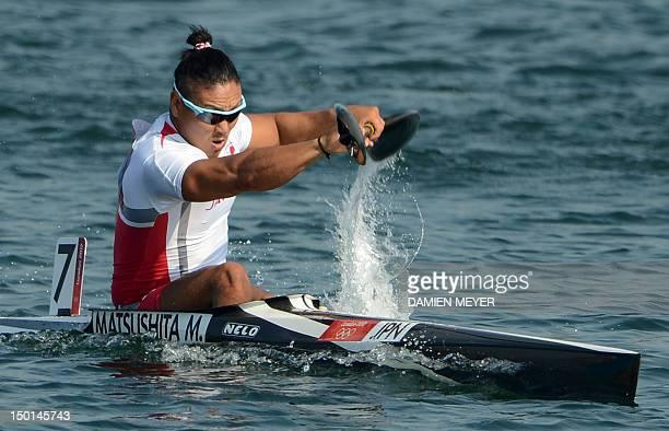 Japan's Momotaro Matsushita competes in the kayak single 200m men's final B during the London 2012 Olympic Games at Eton Dorney Rowing Centre in Eton...