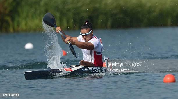 Japan's Momotaro Matsushita competes in the kayak single 200m men's semifinals during the London 2012 Olympic Games at Eton Dorney Rowing Centre in...