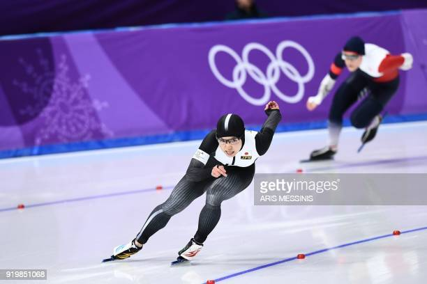 TOPSHOT Japan's Nao Kodaira leads Czech Republic's Karolina Erbanova in the women's 500m speed skating event during the Pyeongchang 2018 Winter...