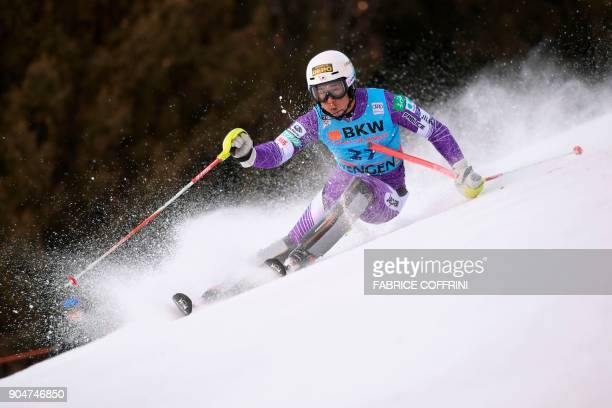 Japan's Naoki Yuasa competes in the first run of the men's Slalom race at the FIS Alpine Skiing World Cup in Wengen on January 14 2018 / AFP PHOTO /...