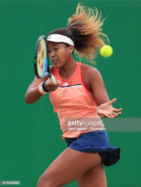 Japan's Naomi Osaka during her match with Michael Buzarnescu during day five of the Nature Valley Open at Nottingham Tennis Centre