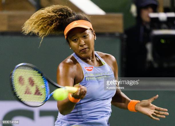 Japan's Naomi Osaka plays against Simona Halep of Romania at a BNP Paribas Open semifinal in Indian Wells California on March 17 2018 ==Kyodo