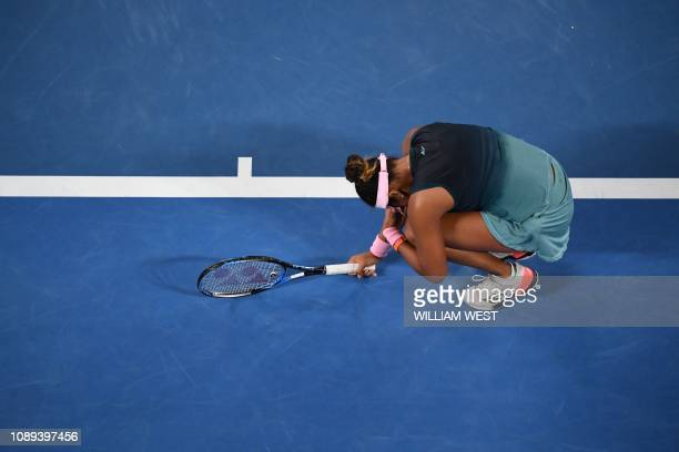 Japan's Naomi Osaka reacts after a point against Czech Republic's Petra Kvitova during the women's singles final on day 13 of the Australian Open...