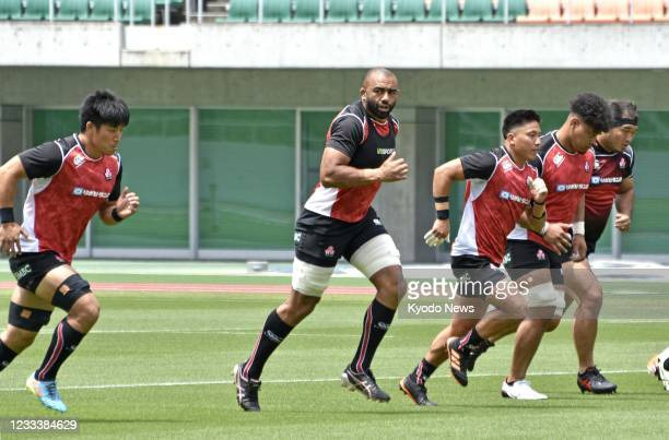 Japan's national rugby team trains at Shizuoka Stadium Ecopa in Fukuroi, central Japan, on June 11 a day before a warm-up match against the Sunwolves...