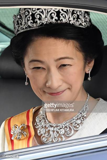 Japan's new Crown Princess Kiko arrives at the Imperial Palace in Tokyo on May 1 2019 Japan's new Emperor Naruhito formally ascended the...
