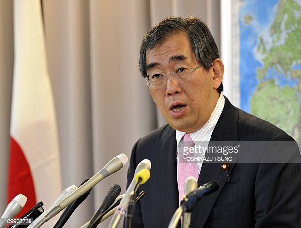 Japan's new Foreign Minister Takeaki Matsumoto speaks before the press at his office in Tokyo on March 9 2011 after being inaugurated before Emperor...
