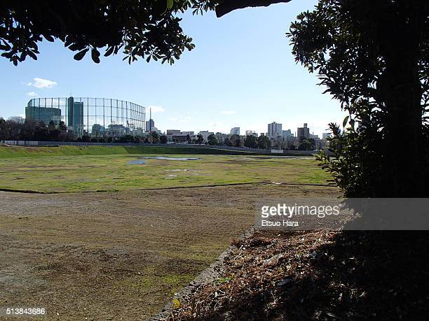 Japan's new national stadium construction site is seen on January 24 2016 in Tokyo Japan