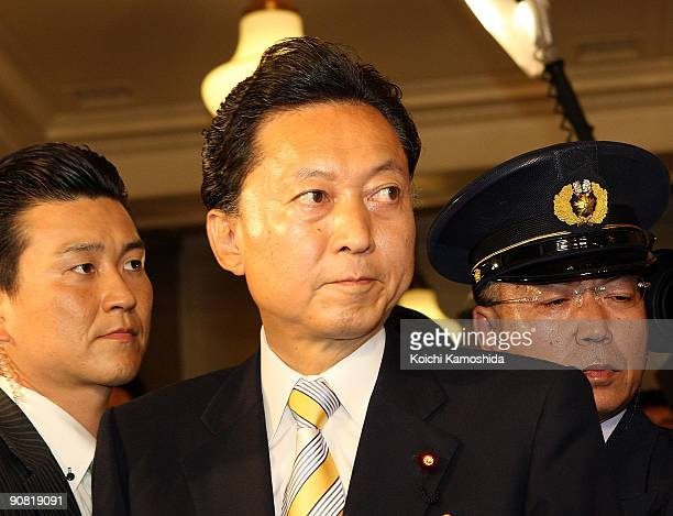 Japan's new Prime Minister Yukio Hatoyama arrives at the Lower House of Parliament on September 16 2009 in Tokyo Japan Hatoyama and Democratic Party...
