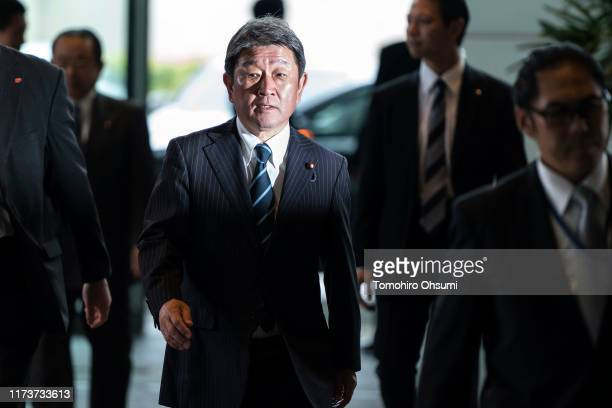 Japan's newly appointed Foreign Minister Toshimitsu Motegi arrives at the prime minister's official residence on September 11, 2019 in Tokyo, Japan....
